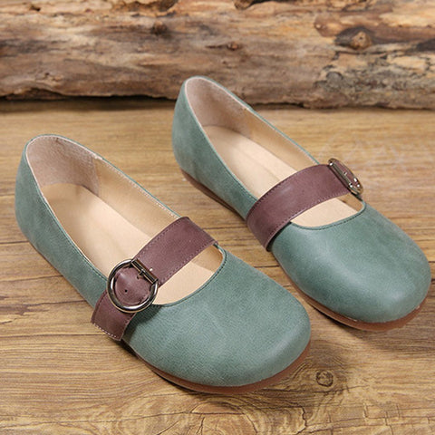 Babakud Leather Buckle Casual Flats Shoes 2019 July New 35 Green