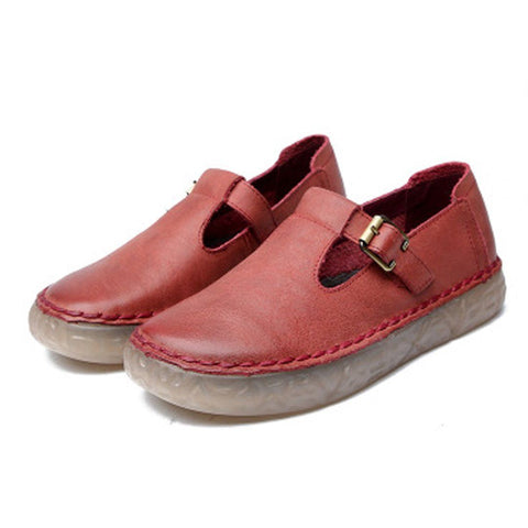 Babakud Leather Casual Flats Buckle Soft Shoes 2019 July New 35 Red