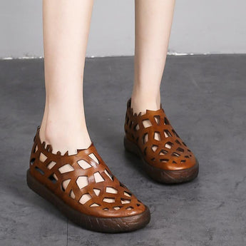 Babakud Leather Hollow loafers Women Sandals 2019 Jun New 35 Brown