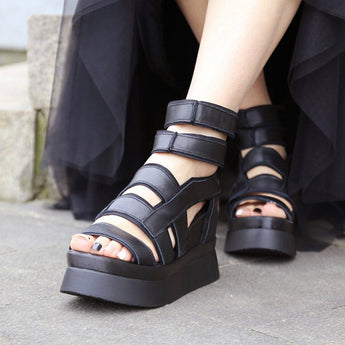 Babakud Leather Platform High Heel Sandals 2019 July New 35 Black