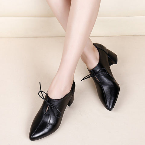 Babakud Leather Pointed Thick Cow Leather Patent Shoes 2019 March New 35 Black