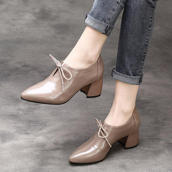 Babakud Leather Pointed Thick Cow Leather Patent Shoes 2019 March New 35 Gray