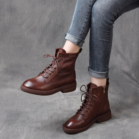 BABAKUD Leather Retro British Style Lace Up Boots 2019 August New 35 Brown