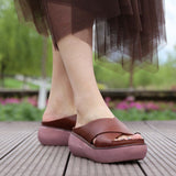 Babakud Leather Retro Casual Platform Slippers 2019 July New 35 Brown