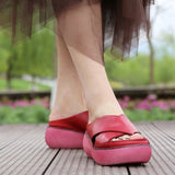 Babakud Leather Retro Casual Platform Slippers 2019 July New 35 Red
