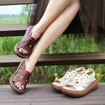Babakud Leather Retro Hollow Thick Bottom Platform Women's Sandals 2019 July New