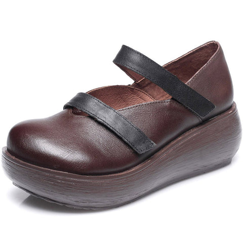 Babakud Leather Retro Paneled Wedge Shoes 2019 July New 35 Brown