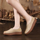 Babakud Leather Retro Soft Bottom Flat Casual Shoes 2019 July New 35 Beige