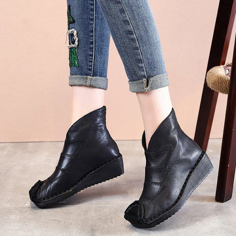 BABAKUD Leather Soft Bottom Boots Women's Retro Handmade Wedge Boots 2019 October New 35 Black