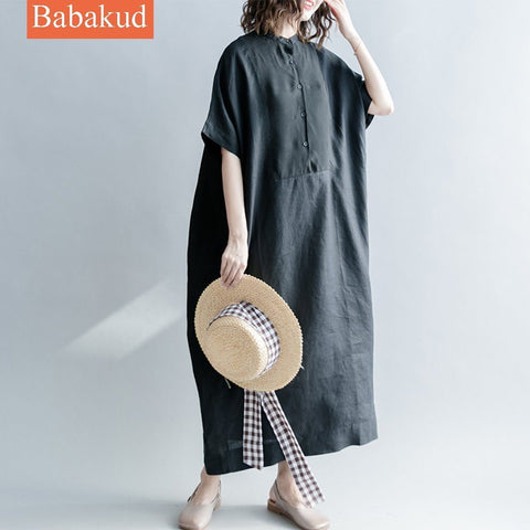 Babakud Linen Casual Loose Solid Button Front Dress With Pocket 2019 July New One Size Black