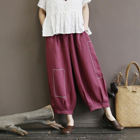 Babakud Linen Loose Embroidery Summer Retro Pants 2019 July New One Size Wine Red
