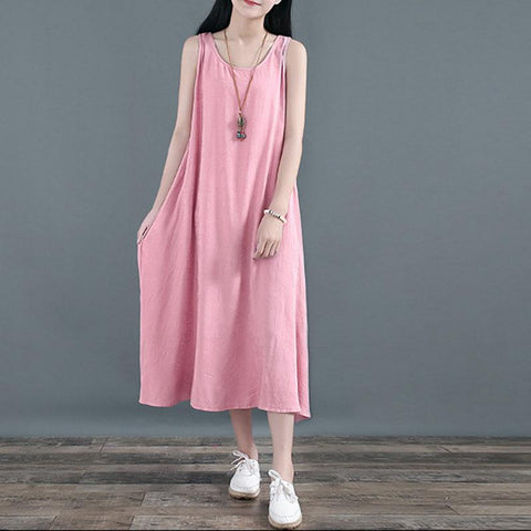 Babakud Linen Loose Summer Sleeveless Dress 2019 Jun New One Size Pink