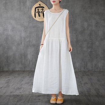 Babakud Linen Summer New White Long Sleeveless Dress 2019 Jun New One Size White