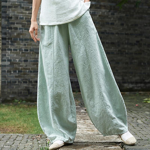 Babakud Loose Casual Linen Shift Pants 2019 Jun New One Size Light Green
