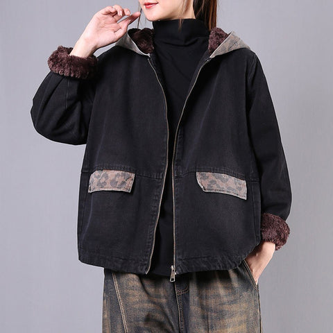 Babakud Loose Casual Plush Winter Hooded Denim Coat 2019 October New M Black