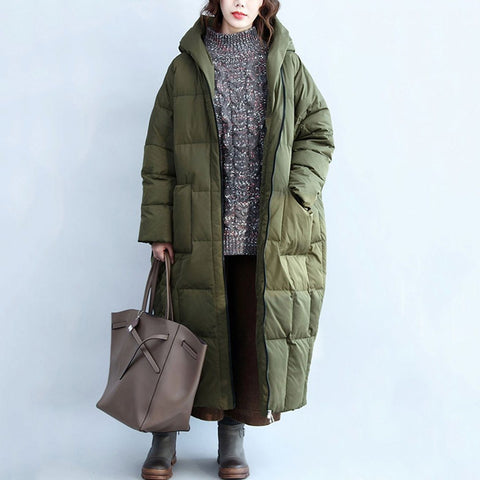 Babakud Loose Casual Solid Army Green Down Winter Thick Coat 2019 October New One Size Army Green