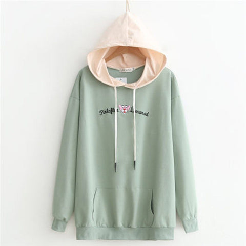 Babakud Loose Embroidery Casual Women Hoodie 2019 September New XL Green