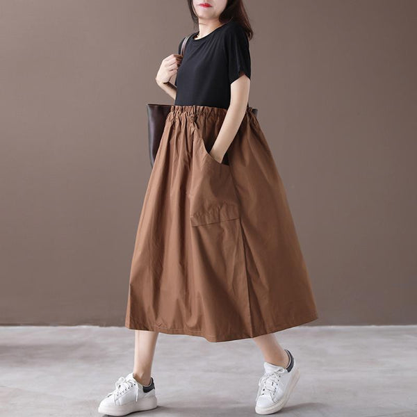 Babakud Loose Gathered Casual Paneled Summer Dress With Pocket 2019 July New One Size Coffee