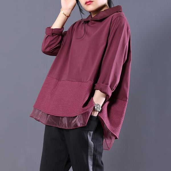 BABAKUD Loose Large Size Lace Paneled Peter Pan Collar Sweatshirt 2019 July New M Purple Red