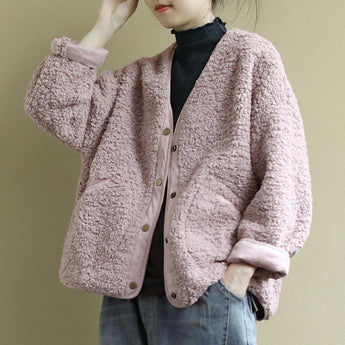 BABAKUD Loose Long-Sleeved Autumn Winter Single-Breasted Coat 2019 November New One Size Pink