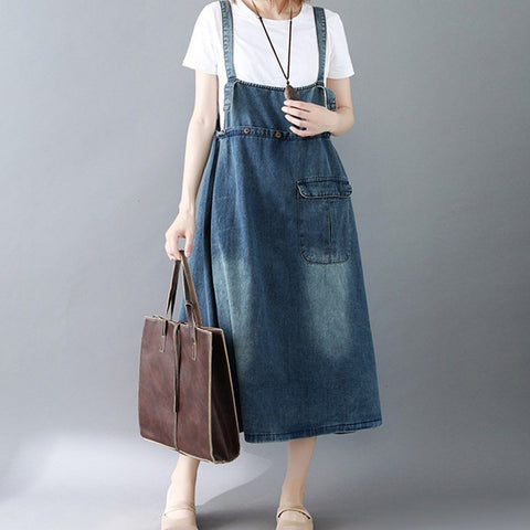 BABAKUD Loose Vintage Denim Casual Strap Skirt 2019 September New M Blue