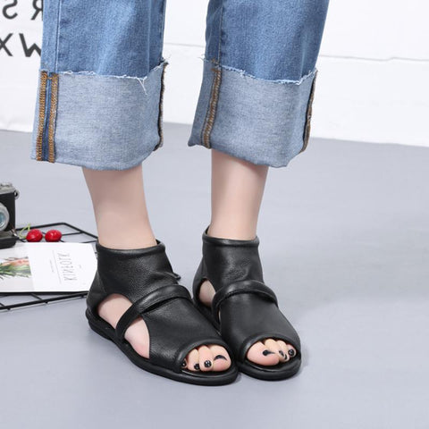 Babakud New Casual Flat Leather Sandals 2019 July New 35 Black