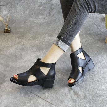 Babakud New Leather Wedge Summer Women's Sandals 2019 Jun New 35 Black