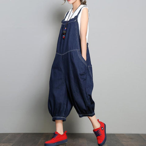 Babakud New Loose Denim Retro Solid Color Jumpsuit 2019 July New One Size Blue
