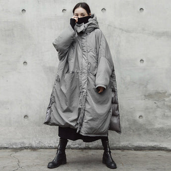 Babakud Oversize Loose Solid Quilted Slit Hooded Coat 2019 October New One Size Gray