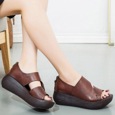 Babakud Peep Toe Wedge Casual Leather Sandals Summer Sandals Cll 35 Brown