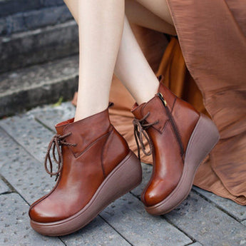 Babakud Platform Leather Solid Lace Up Women Boots 2019 September New 35 Brown