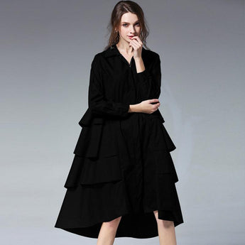 Babakud Plus Size Chain Corrugated Edge Loose Long Sleeve Dress 2019 March New XL Black