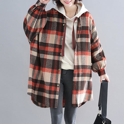 BABAKUD Plus Size Plaid Hooded Autumn Coat 2019 August New XL Orange