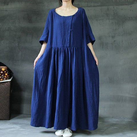 Babakud Plus Size Solid Rich Linen Loose Shift Gathered Dress M-5XL 2019 July New M Blue