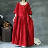 Babakud Plus Size Solid Rich Linen Loose Shift Gathered Dress M-5XL 2019 July New M Red