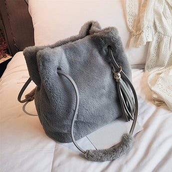 Babakud Plush Tassel Decorative Commuter Furry Shoulder Bag ACCESSORIES One Size Gray