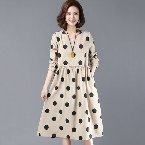BABAKUD Polka Dots Casual Loose Gathered V-Neck Dress 2019 August New M Khaki