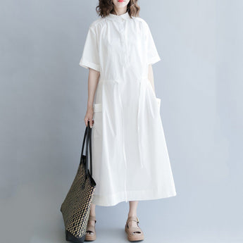 Babakud Polo Neck Button Front Drawstring Solid Dress 2019 July New One Size White