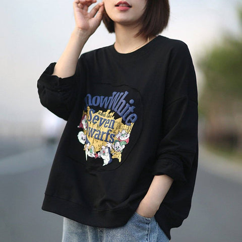 BABAKUD Printed Cartoon Long Sleeve Casual Sweatshirt 2019 September New One Size Black
