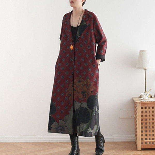 Babakud Printed Vintage Loose Casual Long Coat 2019 November New One Size Red