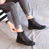 Babakud Retro Flat Bottom Hollow Leather Boots 2019 July New 35 Black