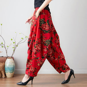 Babakud Retro Flower Ethnic Chinese Style Linen Pants 2019 July New One Size Red