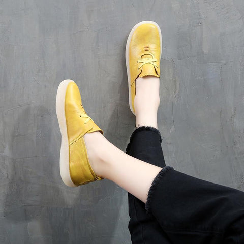 Babakud Retro Handmade Soft Bottom Leather Casual Shoes 34-43 2019 July New 34 Yellow