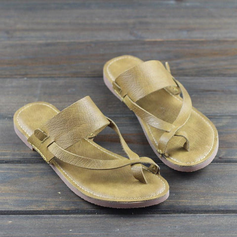 Babakud Retro Leather Clip Toe Solid Casual Slippers 2019 Jun New 35 Yellow