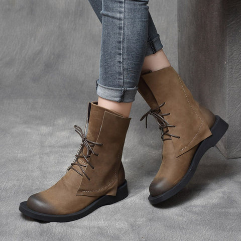 BABAKUD Retro Leather Lace Up British Style Boots 2019 August New 35 Khaki