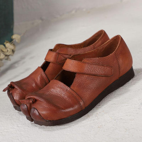 Babakud Retro Leather Split Toe Comfortable Velcro Shoes 2019 July New 35 Brown
