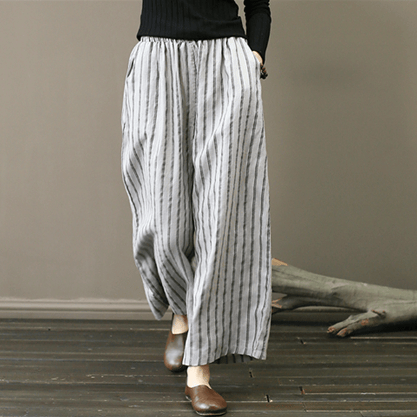 Babakud Retro Linen Stripe Loose Wide Leg Pants 2019 July New M Gray