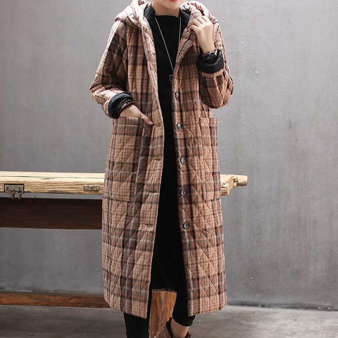 BABAKUD Retro Plaid Quilted Winter Jacket Loose Hooded Cotton Winter Coat 2019 October New One Size Khaki