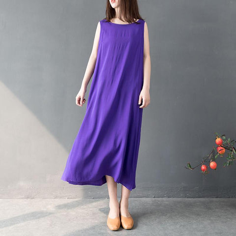 Babakud Retro Solid Loose Summer Bottoming Sleeveless Dress 2019 July New M Purple
