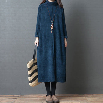 BABAKUD Retro Spring High Collar Loose Long Sleeve Dress 2019 October New L Blue